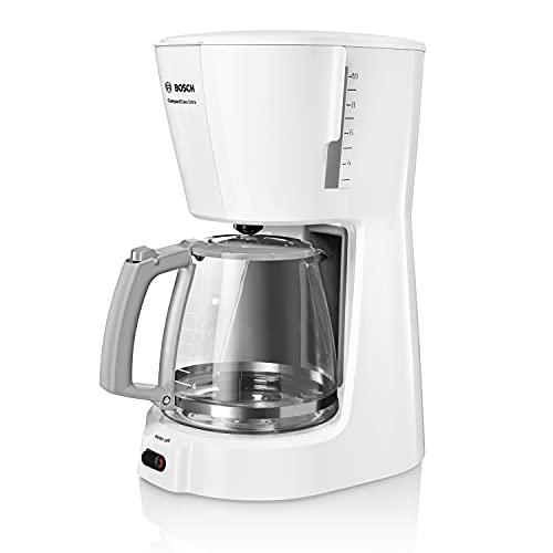 Bosch TKA3A031 CompactClass Extra ekspres do kawy z filtrem, funkcja automatycznego wyłączania, bezpieczne przechowywanie, 1100 W, biały