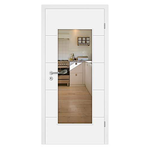 HORI® Zimmertür Komplettset mit Lichtausschnitt I Weißlack Innentür mit Zarge I Modell Valencia I Türbreite 735 mm I Wandstärke 140 mm