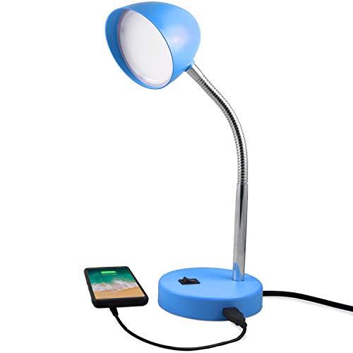 MaxLite LED Desk Lamp with USB Charging Port, Blue Desk Lamp, Adjustable Neck, On/Off Switch, Modern Table Lamp for Reading, Work or School, Warm Gentle Light