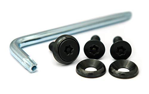 ナンバープレート用ボルト ピントルクスサラ ステンレス(ブラック) 3本&工具セット M6×20