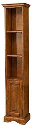 Piccola libreria in legno massello di tiglio finitura noce 40x30x196 cm