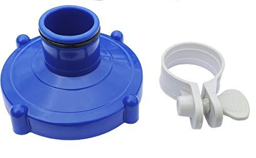 Algenschnapper Adapter Poolschlauch Bodensauger an Filteranlage für Quick-up Pools Von Intex und Bestway (80mm auf 32mm) Adaptador Piscina con Abrazadera de Manguera Inoxidable, Azul y Gris