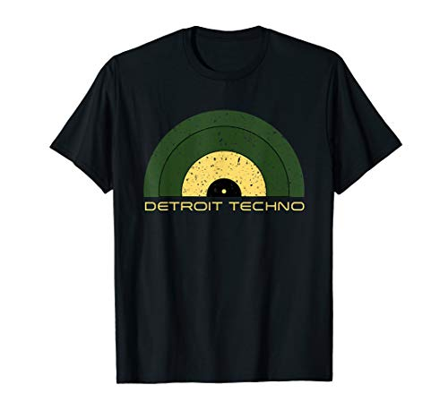 DETROIT TECHNO RETRO LOOKING RECORD MIT DETROIT TECHNO TEXT T-Shirt