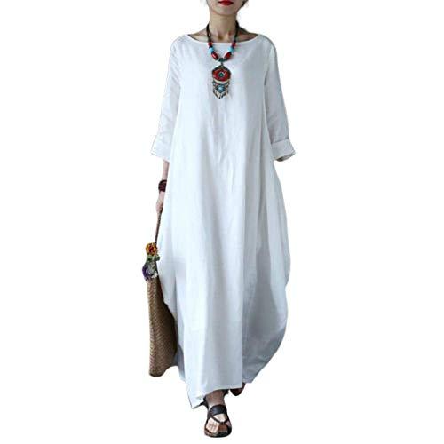 Wide.ling Leinenkleid Damen Sommer Lang Tunika Kleid Vintage Baggy Party Kleider Maxikleid Strandkleid Große Größe Weiß XXL
