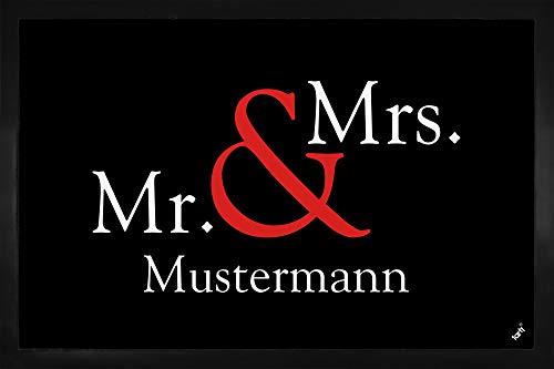 1art1 Ihr Wunschartikel - Mr. & Mrs. Ihr Name oder Text Personalisierbare Fußmatte Innenbereich und Außenbereich | Design Türmatte 60 x 40 cm