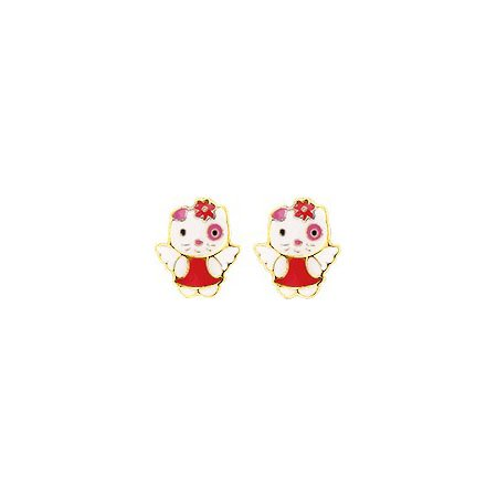 Robbez Masson - Orecchini per bambini, in oro 9 carati, Hello Kitty, riferimento: 9k8550V