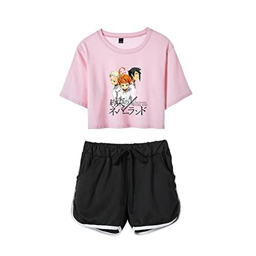 WWZY Conjunto De Verano Pijamas 2 Piezas con Estampado Digital Anime The Promised Neverland Emma Norman Ray Cosplay Top Corto Y Pantalones Cortos para Mujeres Y Niñas,Rosado,XX~Large