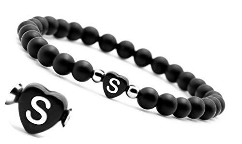 armband mit buchstaben armband schwarz mit gravur Pärchen Perlenarmband couple Edelsteine Onyx (S)