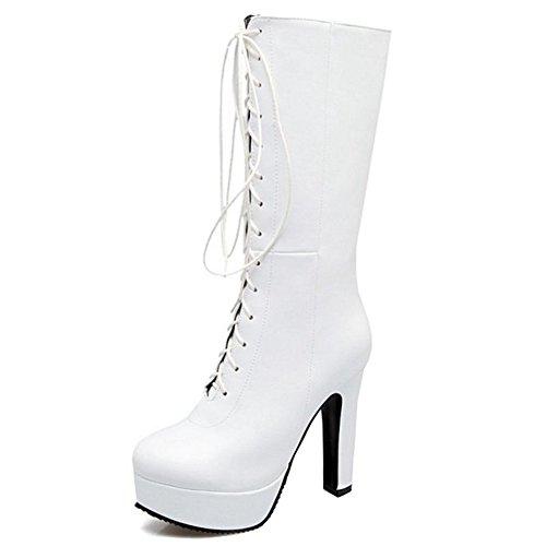 Smilice Damen Langschaft Stiefel mit Blockabsatz Plateau Stiefel (White, 47 EU)