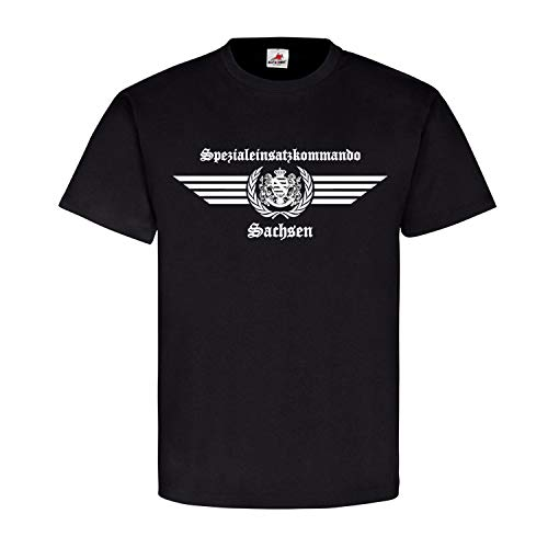 SEK Sachsen altes Logo Spezialeinsatzkommando Auto Spezialeinheit Survivor R Wappen Abzeichen Altdeutsch T-Shirt#23682, Größe:XXL, Farbe:Schwarz