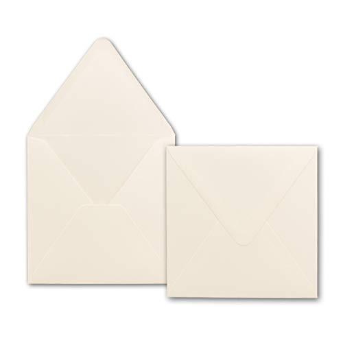 50x Briefumschläge Quadratisch 160 x 160 mm - Creme - Premium Qualität - 120 g/m² - 16,0 x 16,0 cm - Für ganz besondere Anlässe - Nassklebung - Marke: GUSTAV NEUSER