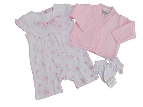 Chloe Louise BNWT Combinaison Barboteuse pour bébé fille Rose Cardigan et chaussettes - Rose - S