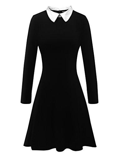 Aphratti Women's Long Sleeve Casual Peter Pan Collar Flare Dress Black Medium
