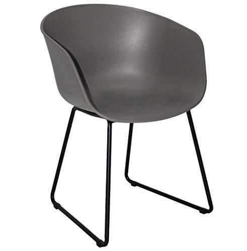 KMH®, 2er Set Gartenstuhl/Designstuhl/Esszimmerstuhl Nicole (schwarz/schwarz) (#800081)