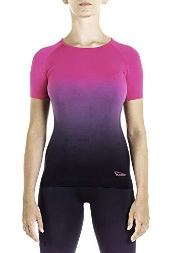 XAED, maglietta sportiva da donna, colore nero/fucsia, taglia M