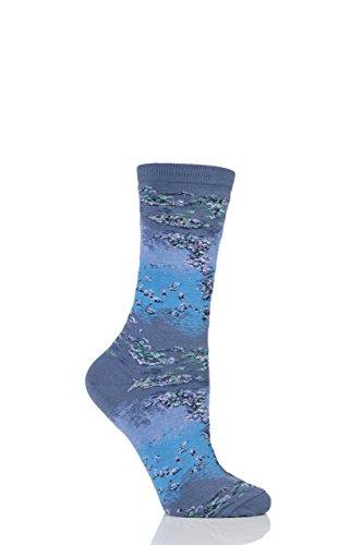 Damen 1 Paar HotSox Artist Collection Monet Wasser Lillies Socken aus Baumwolle Blau 4-8 Damen