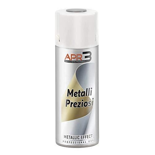 APR3 - S400MET4 Smalto Spray Effetto Metalli Preziosi, Colore Argento Metallizzato, Bomboletta Spray in Banda Stagnata 100% Riciclabile all'Infinito da 400 ml