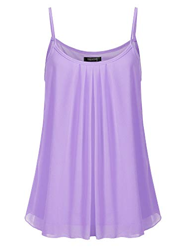 SSOULM Women's Sleeveless Pleated Chiffon Layered Cami Tank Top Blouse Lavender 1XL