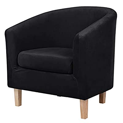 hyha 2 Pieces Velvet Tub Chair Covers with Cushion Cover, Removable Stretch Club Chair Slipcover for IKEA Tullsta, Armchair Furniture Protector for Living Room, Black