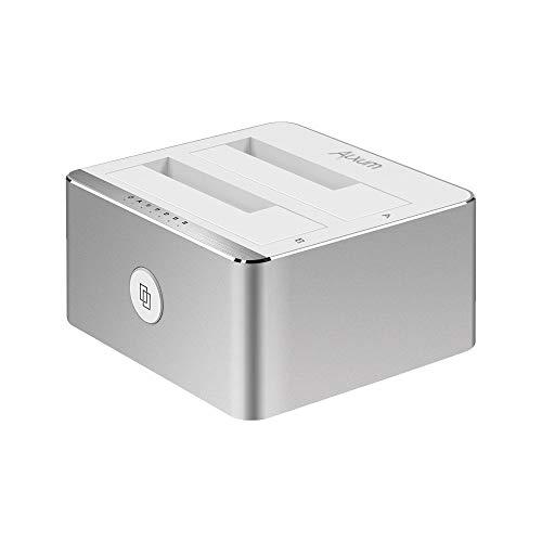 Alxum USB 3.0 SATA Estación de Acoplamiento de Disco Duro Estación de clonación de 2 bahías para estación de Acoplamiento SATA HDD SSD HDD de 2.5 y 3.5 Pulgadas, Soporte 2 x 12 TB y USAP