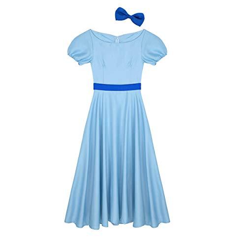 YOOJIA Mujer Disfraz de Princesa Wendy Vestido Princesa/Diadema Disfraces Fiesta Aventuras País de Nunca Jamás Vestido Azul Largo Azul M