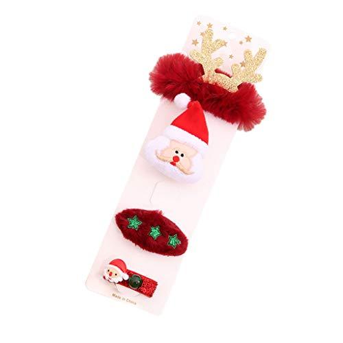 Xmiral Weihnachten Brosche Haarnadel Armband Weihnachtsgeschenkset Weihnachtsschmuck für Kinder Erwachsene(A)