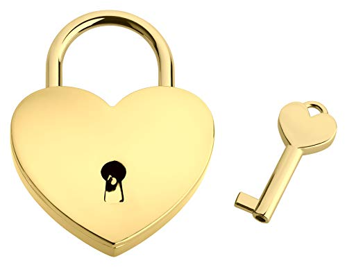 Liebesschloss In Herzform ♥ | Herzschloss Mit Schlüssel & Samtsäckchen Als Liebesgeschenk | Gold | Ohne Gravur