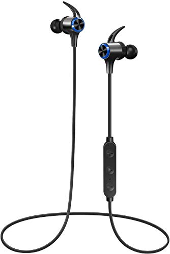 Wireless Headphones, Boltune Bluetooth 5.0 aptX HD CVC 8.0 Noise Cancellation IPX7 Waterproof 16Hrs Playtime Earbuds, 3 EQ Settings with Magnetic Connection, Sports Earphones Built-in Mic, Blue
