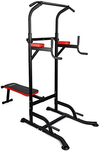Chaise Romaine Power Tower avec Banc, Multifonction Barre de Traction, Gym Familiale Ajustable Dips Station Chin Up, Station de Musculation