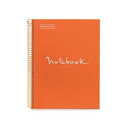 MIQUELRIUS - Cuaderno Notebook Emotions - 1 franja de color, A4, 80 Hojas cuadriculadas 5mm, Papel 90g, 4 Taladros, Cubierta de Cartón Extraduro, Color Naranja