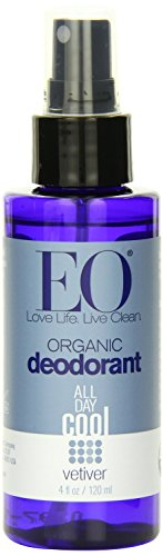 EO Organic Deodorant Spray, Vetiver ‑ 4 fl oz, 5-pack