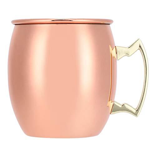 Tazas de cobre Moscow Mule de 550 ml con anillas, tres asas y forro de acero inoxidable, tazas de cobre aptas para alimentos, pulidas a espejo, para cóctel, cerveza, café, leche