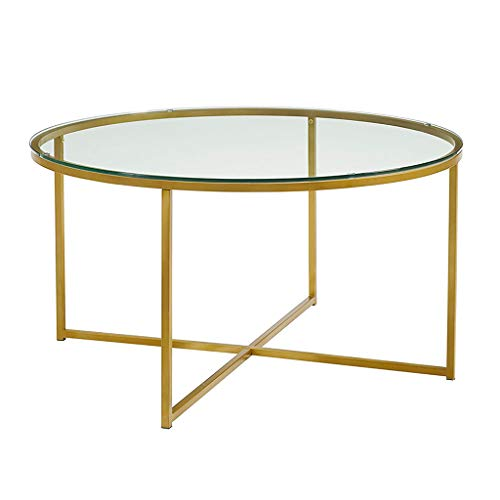Round Tempered Glass Coffee Table with X-Base, Modern Furniture Decor Side Table, Gold