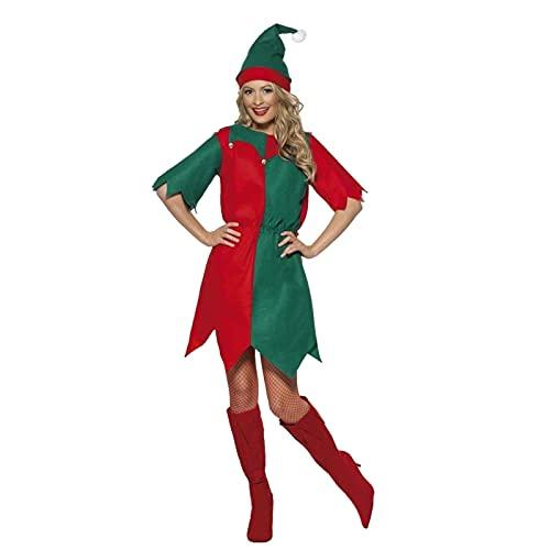 Sealands Costumi da Elfo Natalizio da Donna, Vestito da Elfo Albero di Natale Verde per Giochi di Ruolo Festa in Maschera Accessori per Costumi di Natale (Include Vestito, Cappello)