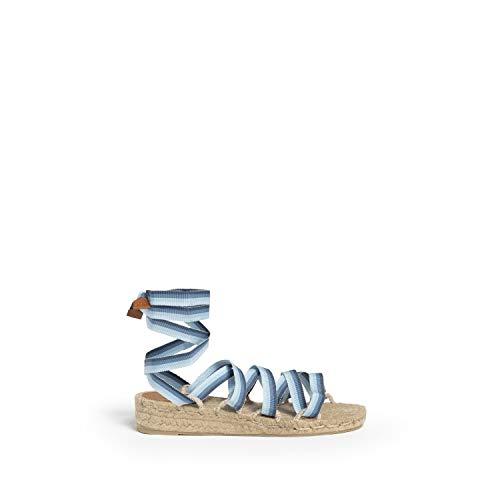 CASTAÑER | Sandalia de cuña elaborada en Lona fantasía 4cm Paloma | Mujer | Marino | 40