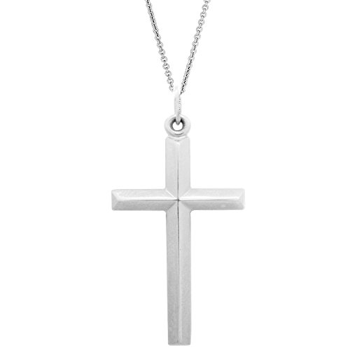 Ritastephens Sterling Silver Shiny Polished Edged Italian Cross Charm Pendant Necklace (16)