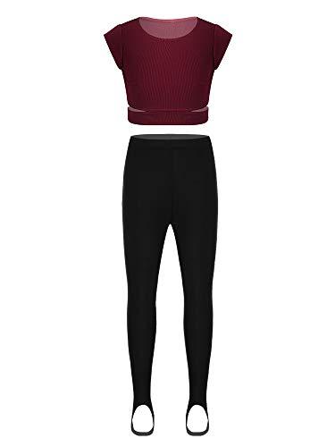 Yeahdor Kids Girls Two Piece Cap Sleeves Dancewear Crop Top Leggings Pants Clothing Set Yoga Sportsuit Burgundy+Black 8
