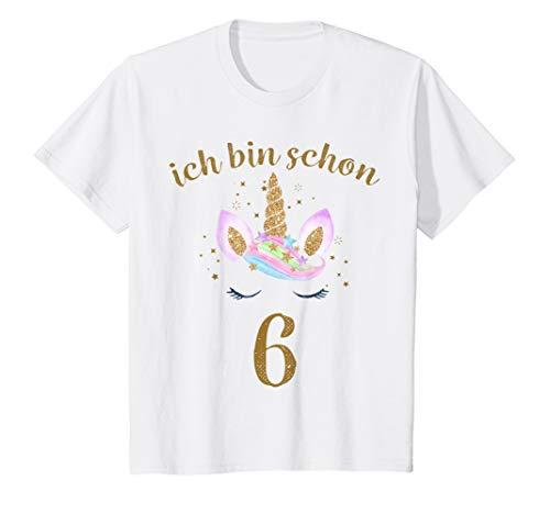 Kinder ich bin schon 6 Geburtstagsshirt Einhorn 6 Jahre Mädchen