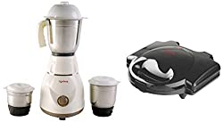 Lifelong Power Pro LLMG02 500-Watt Mixer Grinder with 3 Jars (Brown) with LLSM115T 750-Watt 4-Slice Sandwich Maker (Black) Combo