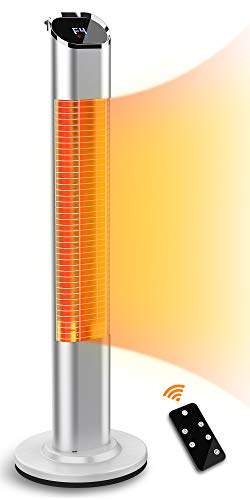 Electric Outdoor Heater, Quiet Infrared Gold Tube Freestanding Patio Heater with Remote Control, 24H Timer, Safety Overheat Protection, 2 Power Setting, 1500W
