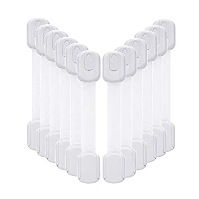 12 Pack Baby Proofing Cabinet Strap Locks - Vkania Kids Proof Kit - Child Safety Drawer Cupboard Oven Refrigerator Adhesive Locks - Adjustable Toilets Seat Fridge Latches - No Drilling by