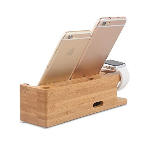 GreenAppoint Holz Telefon-Dockingstation, Multi-Gerät Bambus Ladestation Ständer, Docking Organizer-Stand, USB-Ladestation, Handy Ladestation Mini Tablet Standfuß Lade