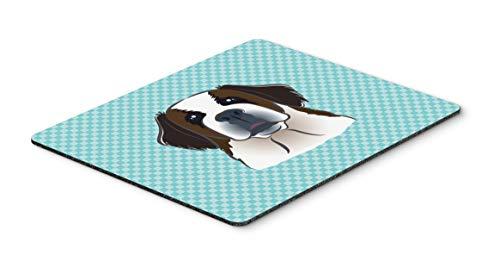 Caroline's Treasures BB1184MP Checkerboard Blue Saint Bernard Mouse Pad, Hot Pad or Trivet, Large, Multicolor
