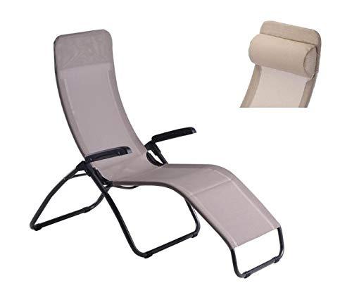 ALTIGASI Tango Fiam Chaise longue inclinable avec appuie-tête, fauteuil ergonomique pour extérieur, jardin, terrasse, camping et plage – Acier anthracite – Texfil Taupe Fabriqué en Italie