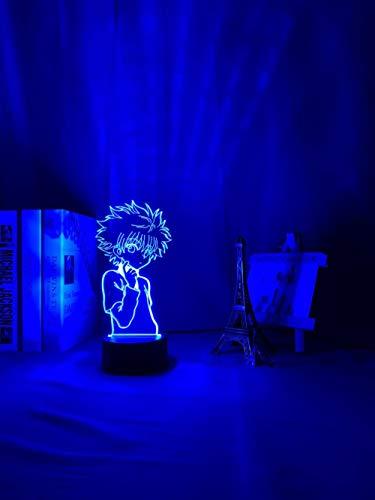 Regalos para niños acrílicos 3D luz nocturna anime lámpara de mesa Killua figura Hunter X Hunter para dormitorio decoración de noche Li dormitorio luz de ambiente alta