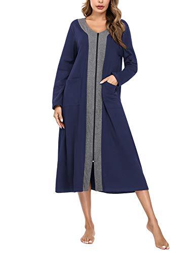 Aibrou Bademantel Damen mit Reißverschluss, Lange Morgenmantel Nachthemd Nachtwäsche mit Taschen Flauschig Weiche Gemütliche Robe Marineblau XXL