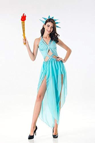 BVBVBV Conjuntos de lencera para Mujer Ropa de Dormir para Mujer Halloween mitologa Griega Antigua Uniforme de Diosa Vestido de Princesa Disfraz de Reina egipcia Lago Azul M