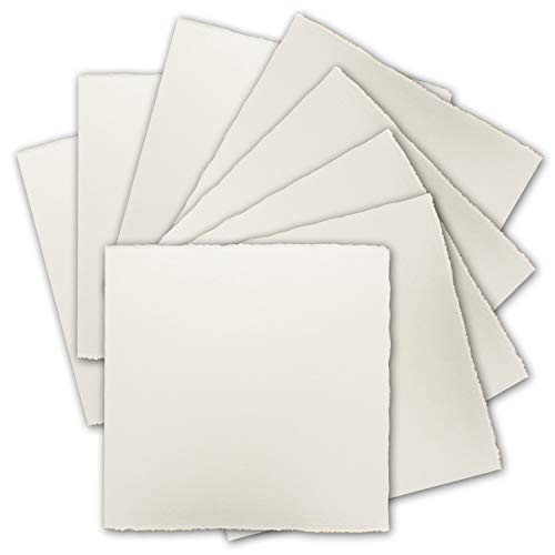 50x Quadratische Vintage Einzel-Karten, echtes Bütten-Papier, 12 x 12 cm - Natur-Weiß 225 g/m² - Vellum Oberfläche - Original Zerkall-Bütten