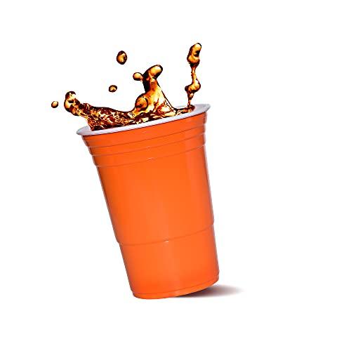 Bierpong Set di 100 bicchieri da birra, originali Red Cups, in plastica, per gioco di Beerpong e feste di compleanno, 473 ml, 4 x 25 cm, colore arancione