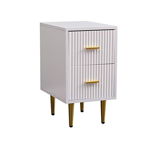 BAIHAO Bedside Storage Cabinet, 2 drawers Modern Minimalist Bedside Table, With metal handle and non-slip metal legs For living room and bedroom